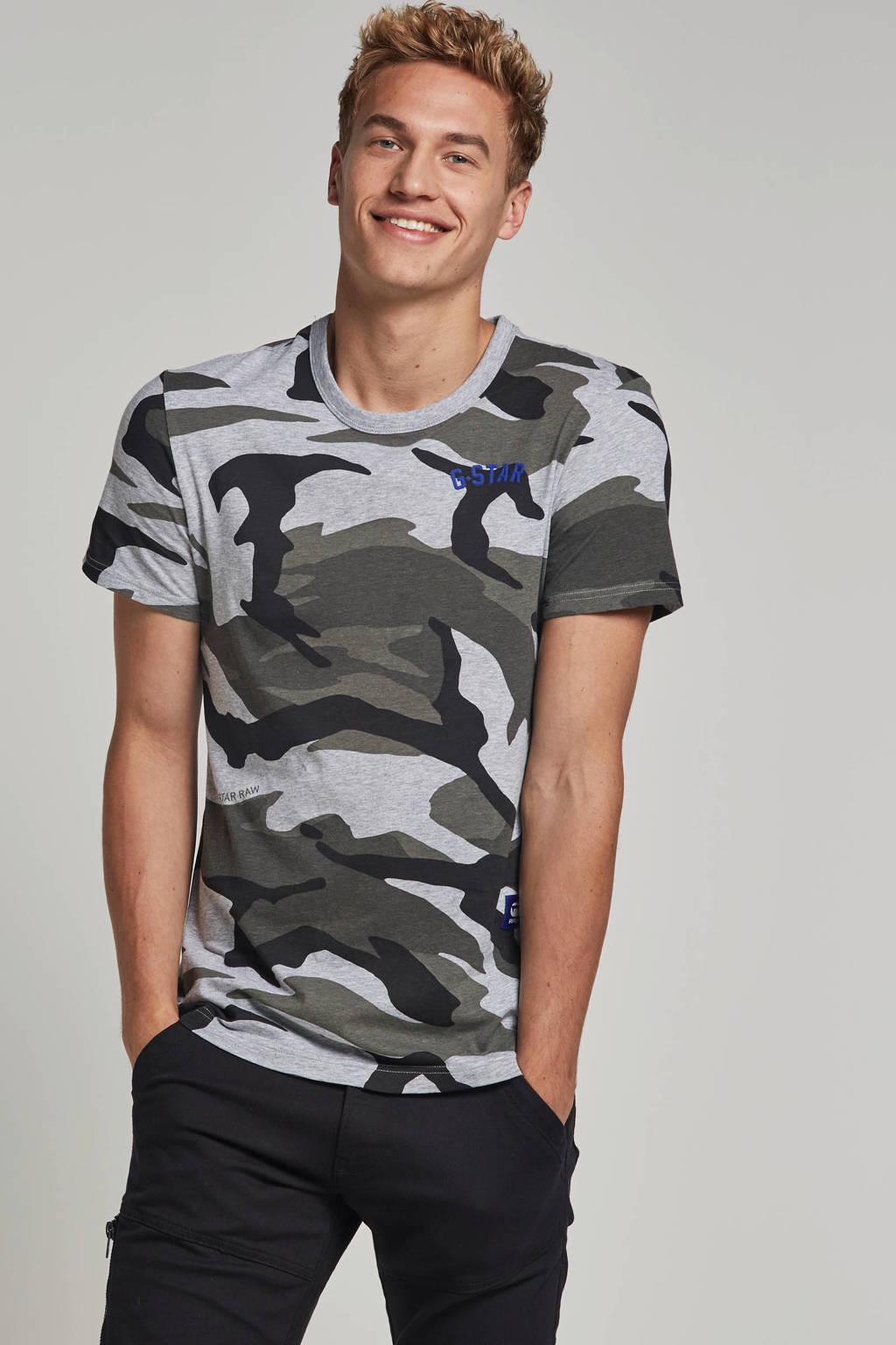 G-Star RAW t-shirt, Grijs/groen/zwart