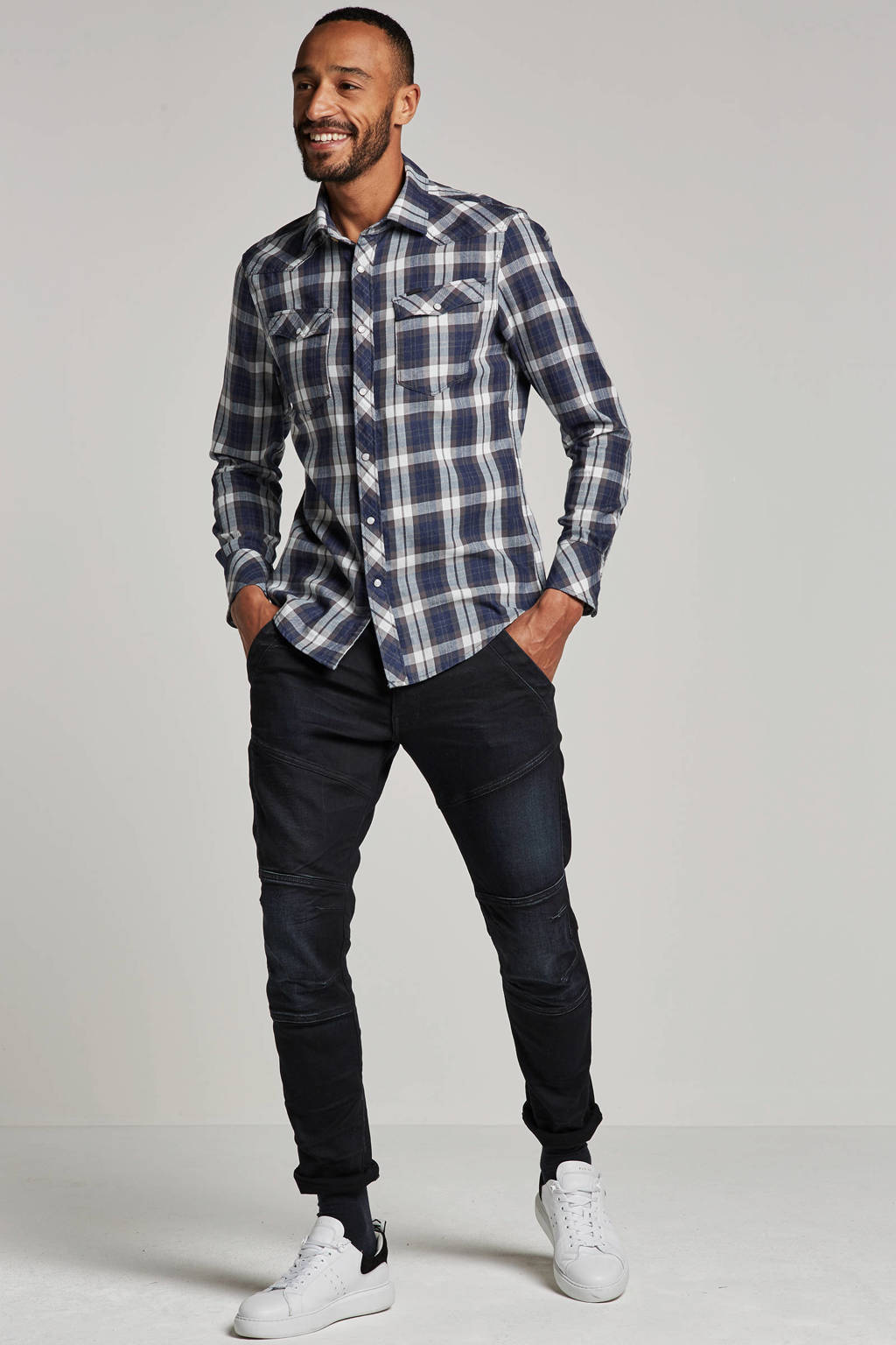 G-Star RAW slim fit overhemd, Blauw/wit/grijs