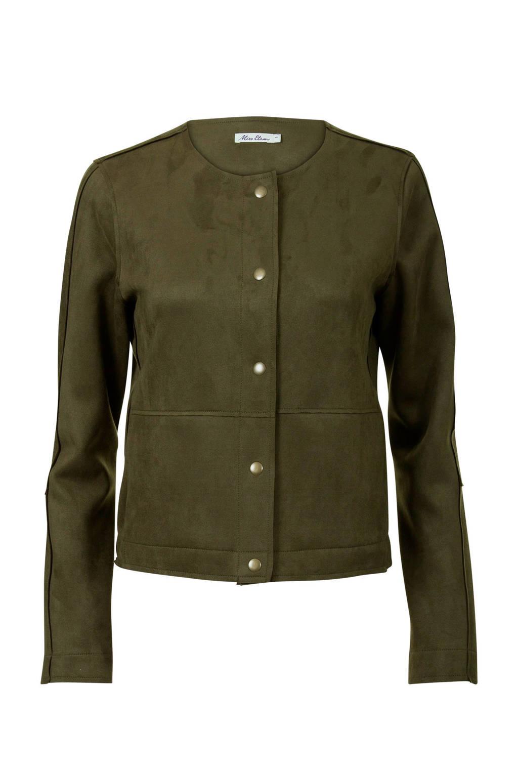 Miss Etam Regulier imitatiesuède jasje groen, Groen