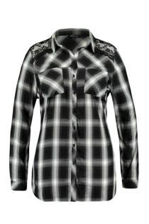 MS Mode geruite blouse met kant zwart (dames)