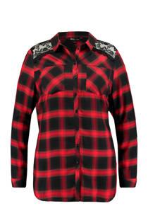 MS Mode geruite blouse met kant rood (dames)