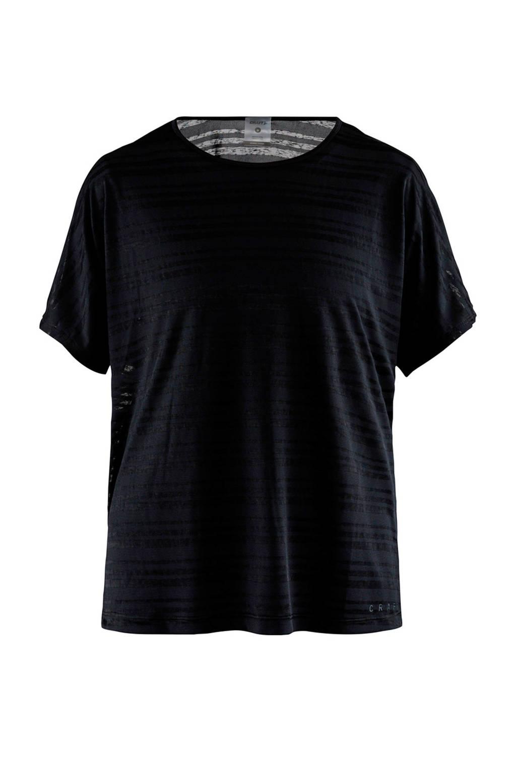 Craft sport T-shirt met all over streepprint zwart, Zwart