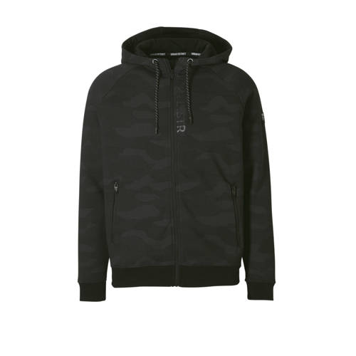 vest met camouflage print zwart