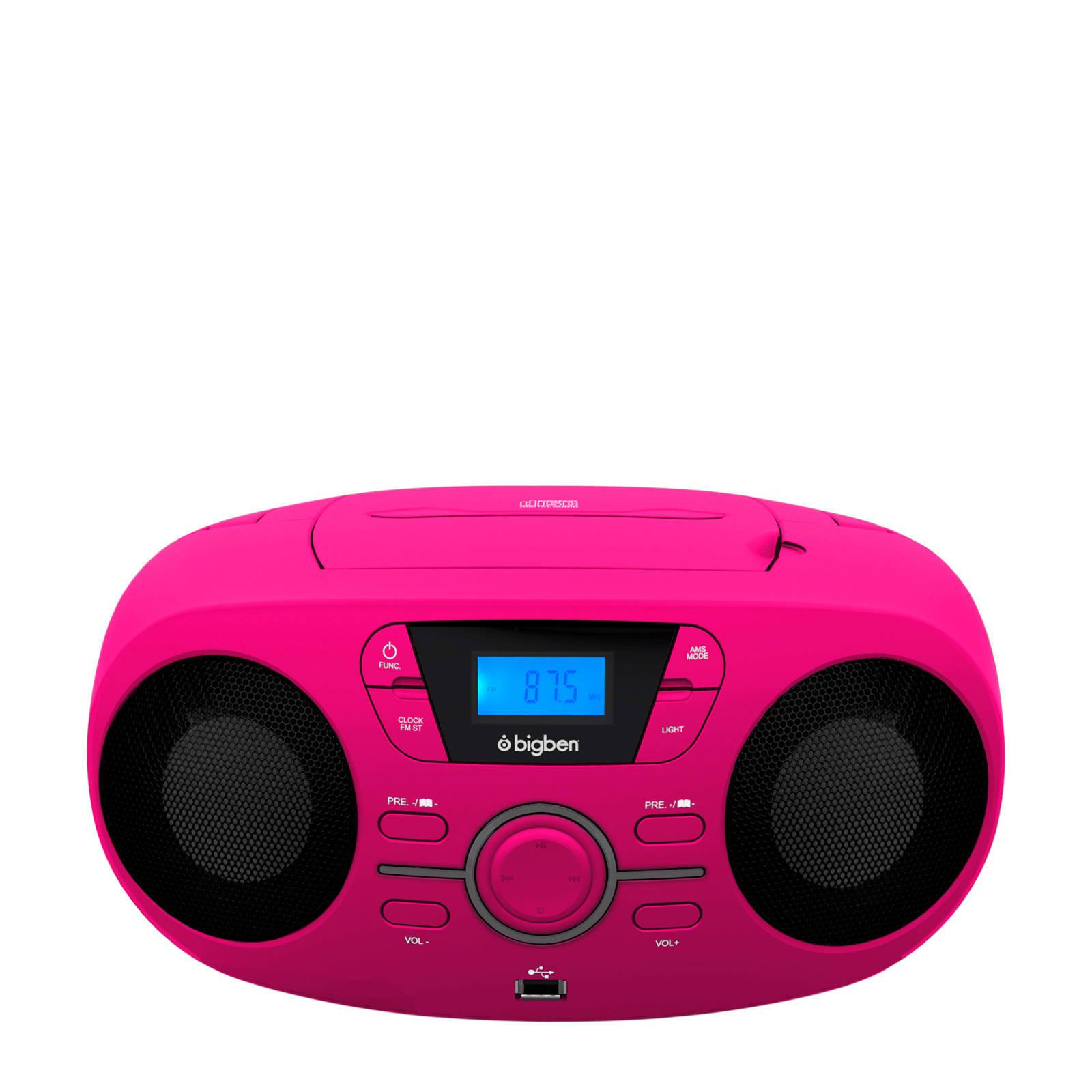 BigBen draagbare radio CD speler met USB en LED verlichting roze ...