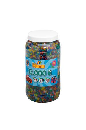 strijkkralen in pot - transparantmix (053), 13.000 stuks