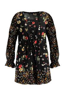 MS Mode gebloemde tuniek zwart (dames)