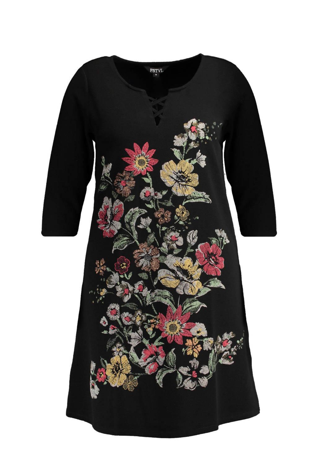 MS Mode jurk met bloemenprint zwart, Zwart