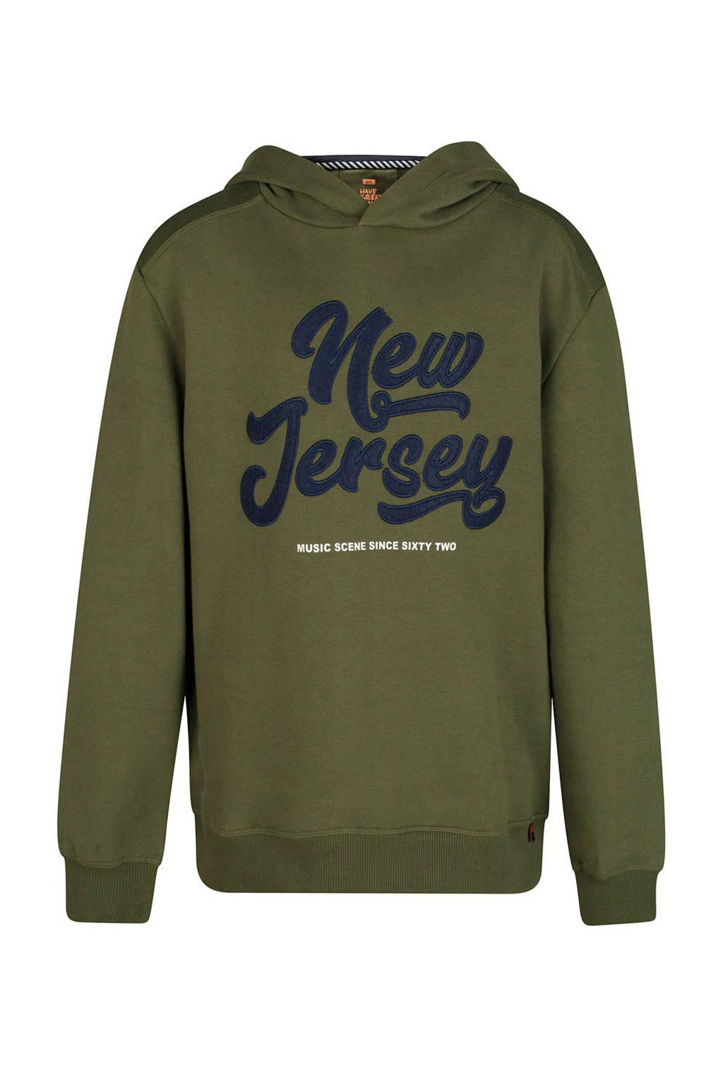 WE Fashion hoodie met tekstopdruk groen, Legergroen