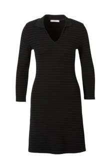 jurk met streeptextuur zwart