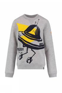 CKS KIDS sweater Brosnan met ufo opdruk grijs (jongens)