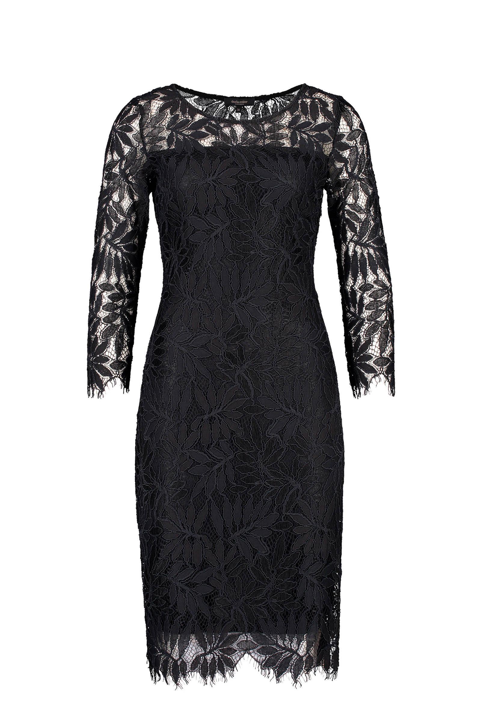 Wonderlijk Claudia Sträter jurk met all over print en kant zwart | wehkamp SV-46