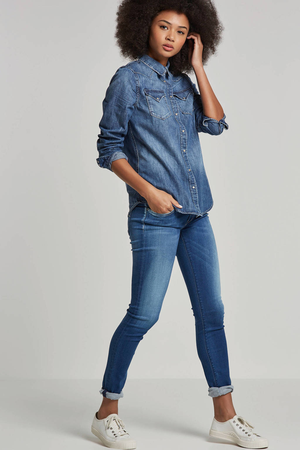 REPLAY skinny fit jeans, Blauw