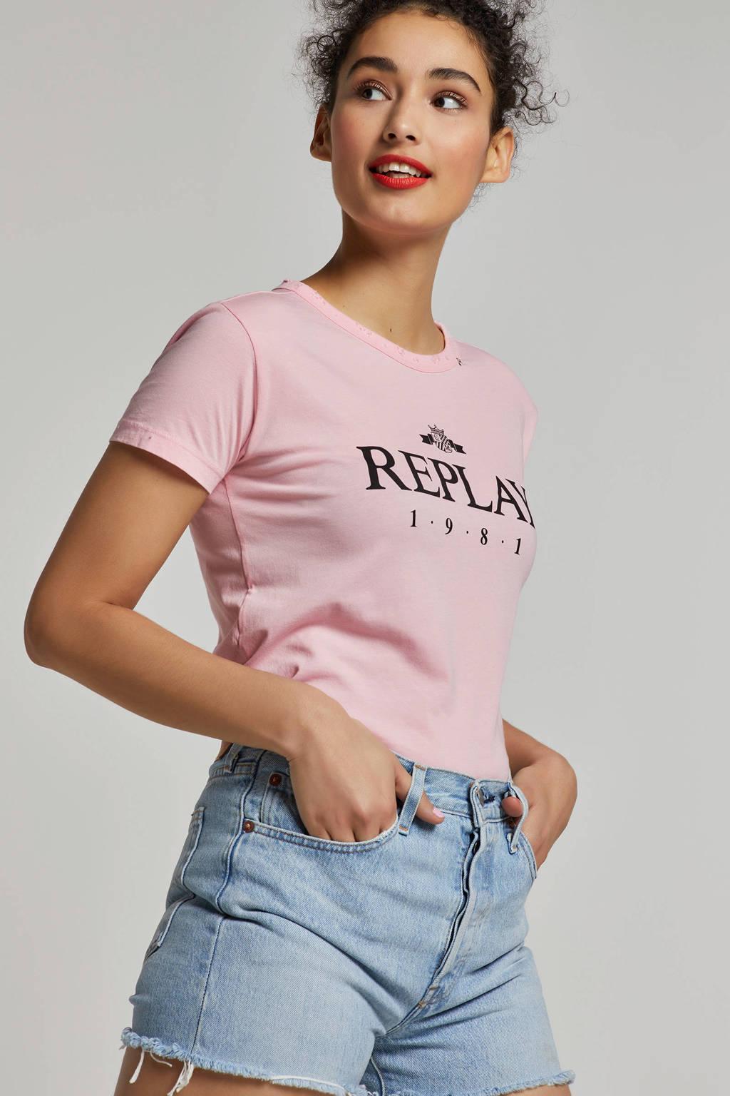REPLAY T-shirt met printopdruk en slijtage details, Roze/zwart