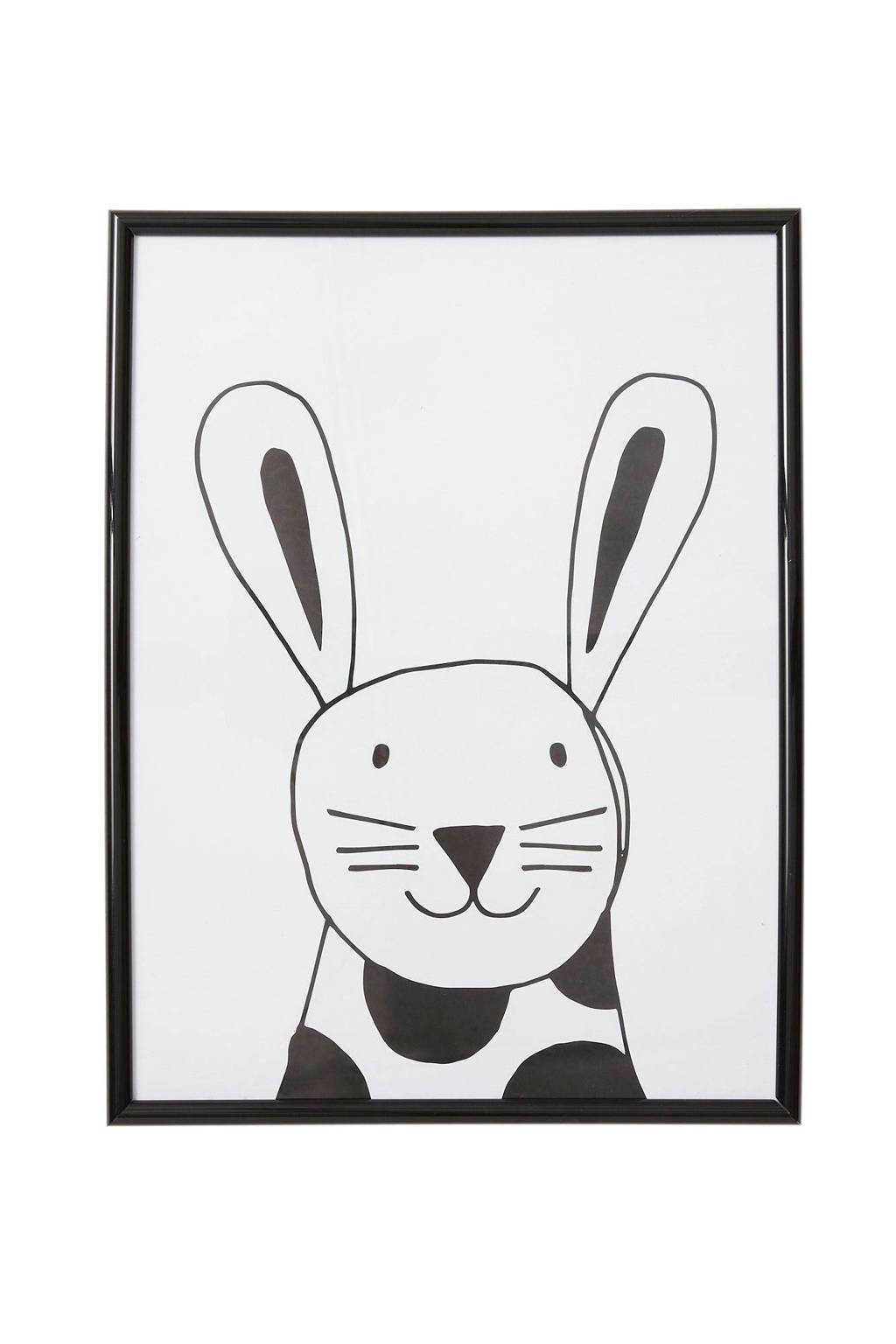 wehkamp beasty poster in lijst Konijn (30x40 cm), Wit/zwart