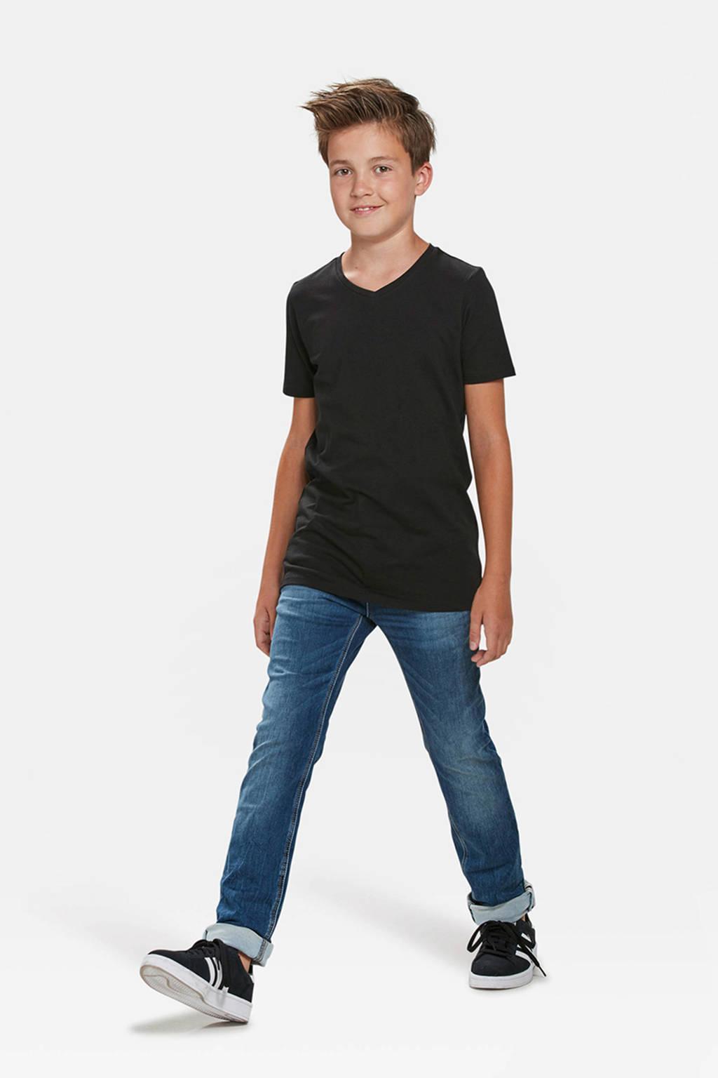 WE Fashion T-shirt Basics zwart, Zwart