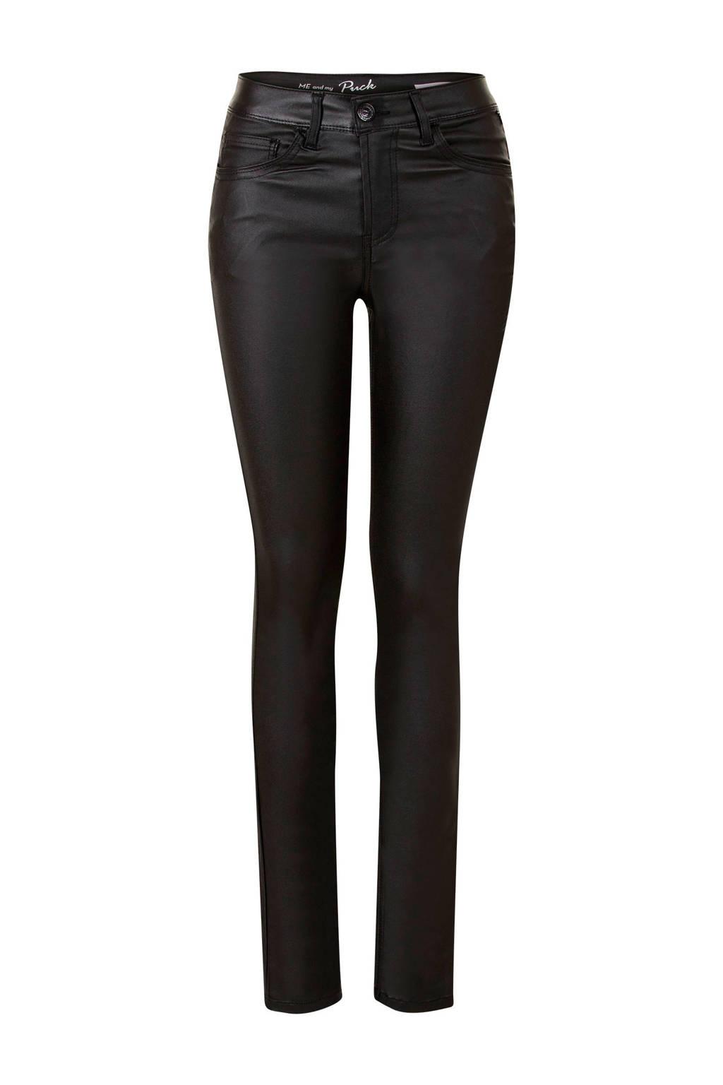 Miss Etam Regulier gecoate slim fit broek zwart, Zwart