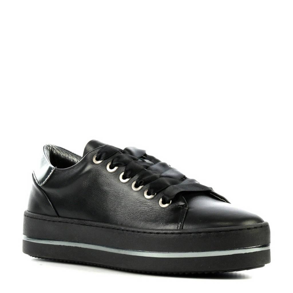Hip  leren sneakers zwart, Zwart