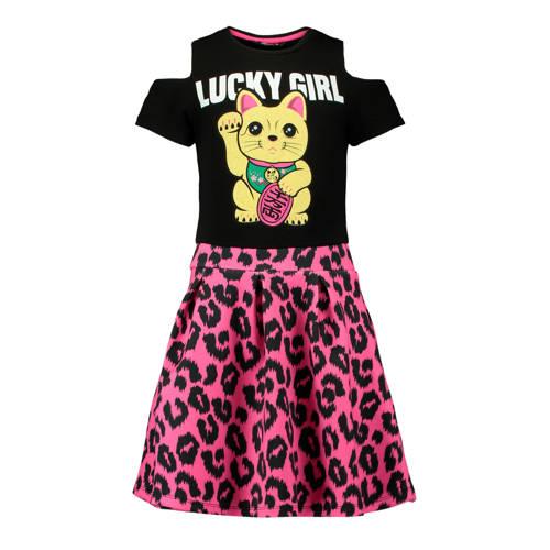 a-lijn jurk met luipaardprint zwart-roze