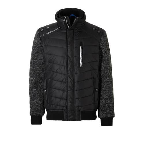 gewatteerde jas zwart-grijs
