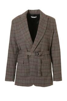 blazer met ruitprint grijs