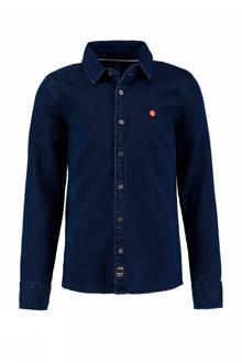 overhemd met denim look donkerblauw