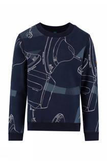 CKS KIDS sweater Barney met print donkerblauw (jongens)