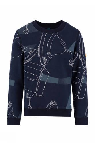 sweater Barney met print donkerblauw