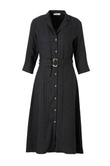 jurk met streepprint grijs