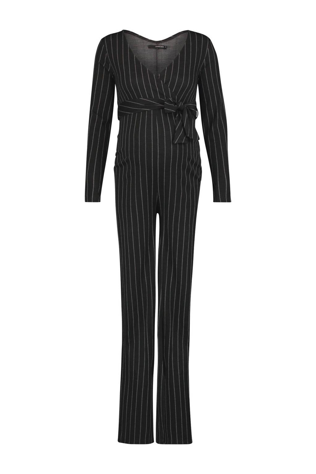 Supermom jumpsuit met krijtstreep, Zwart