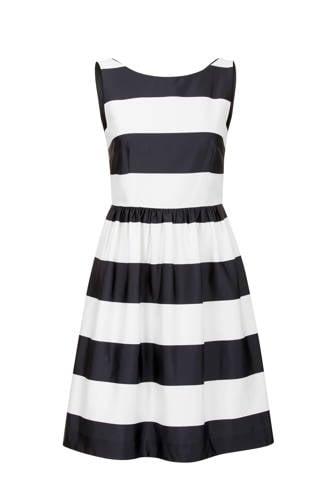 gestreepte jurk blauw/ecru