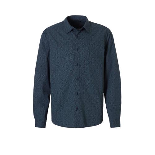 overhemd met all over print donkerblauw