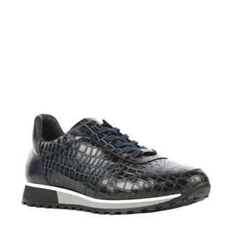 leren sneakers met krokoprint blauw