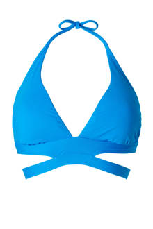 Mix & Match halter bikinitop gevoerd kobaltblauw