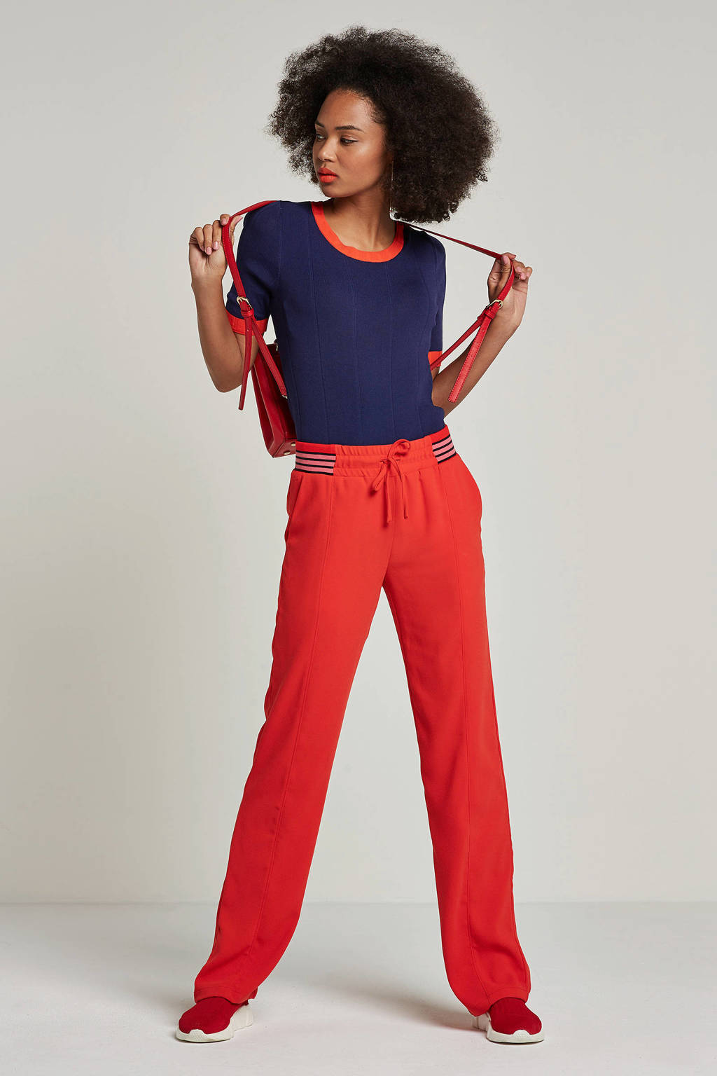 whkmp's own fijnbrei trui met brede rib, Donkerblauw/rood