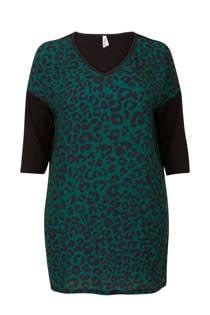 Miss Etam Plus tuniek met panterprint groen (dames)