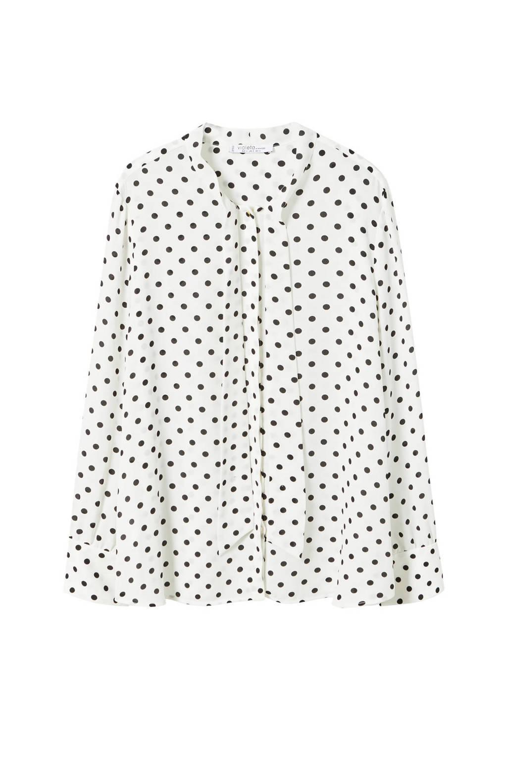 Violeta by Mango blouse met stippen ecru, Ecru