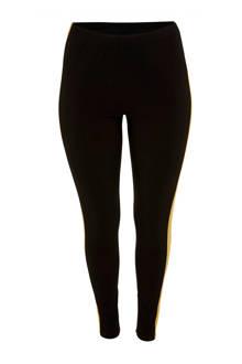 high waist legging met zijstreep Erin zwart/oker