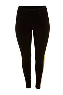 high waist legging met zijstreep Erin zwart/wit