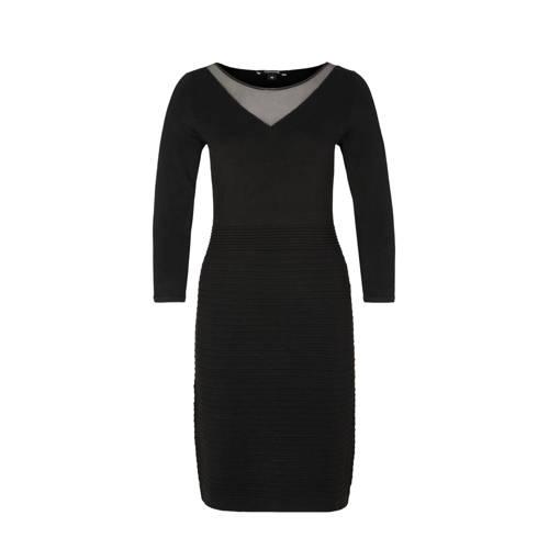 a-lijn jurk met ribbelrok zwart