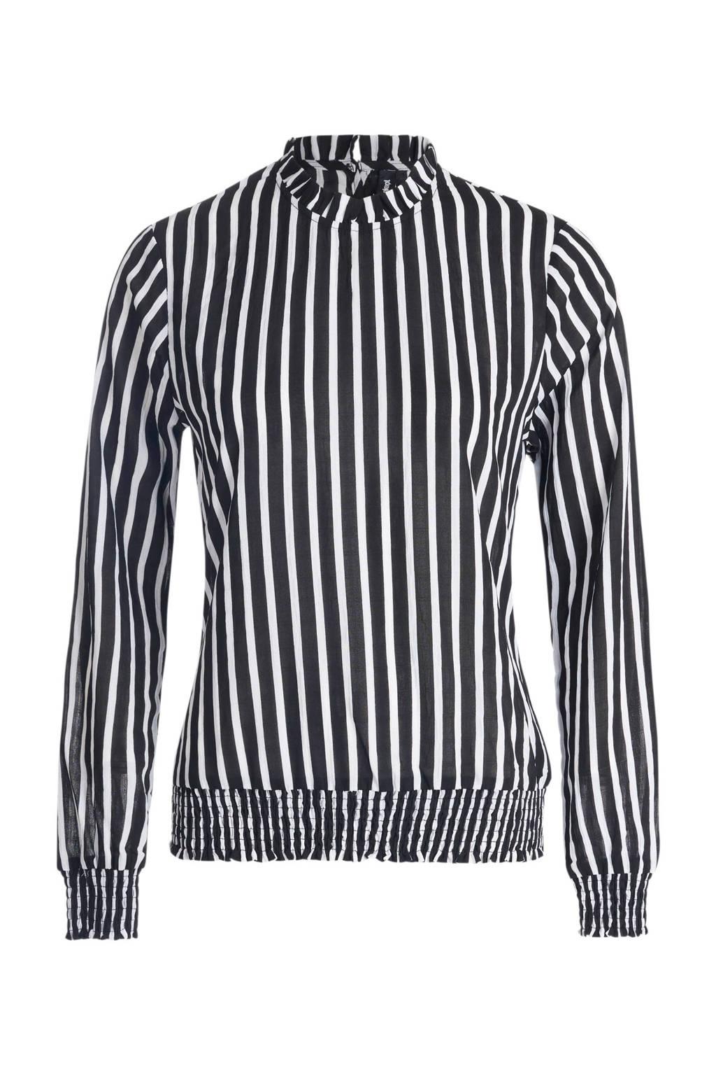 Eksept maggy blouse met een all over streepdessin, Zwart/wit