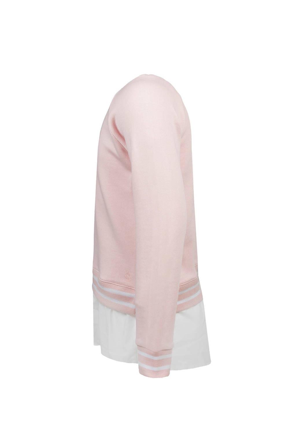 Marc O'Polo sweater met blouse roze, Lichtroze/wit