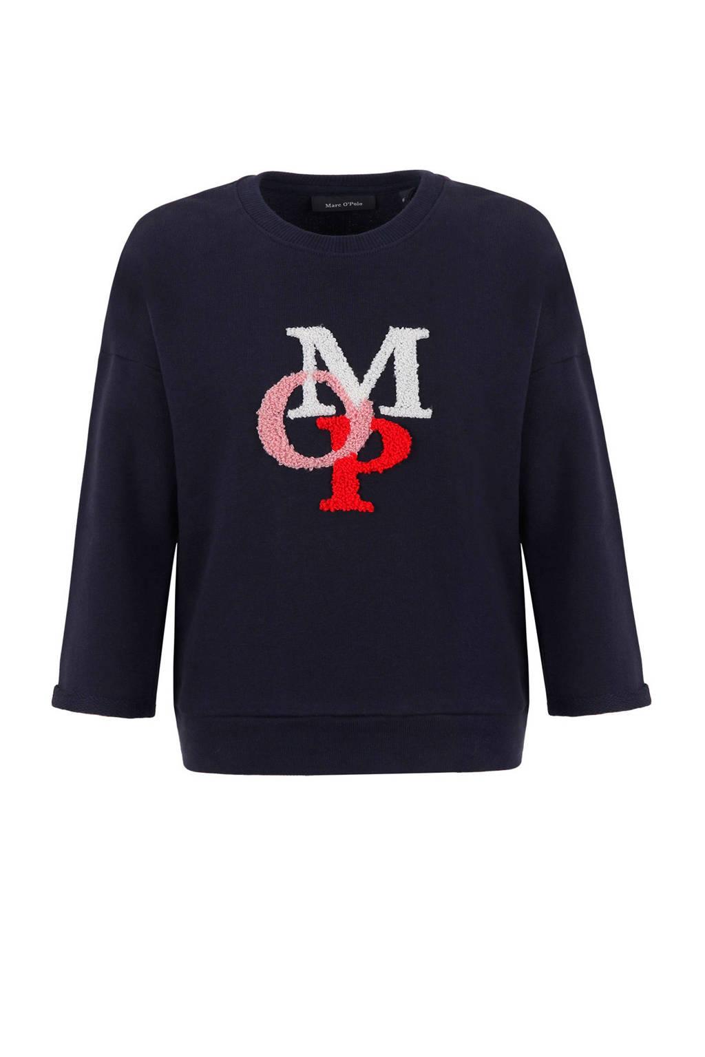 Marc O'Polo sweater met logo blauw, Donkerblauw
