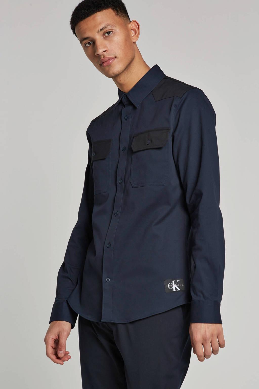 Calvin Klein Jeans slim fit overhemd Western, Donkerblauw
