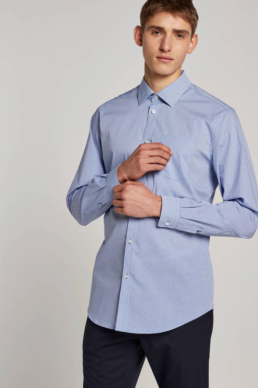 ESPRIT Men Collection geruit slim fit overhemd blauw/wit, Blauw/wit