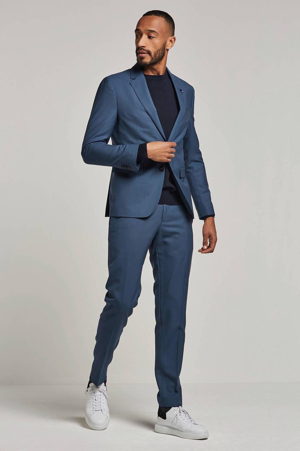 Tommy Hilfiger Tailored Wollen slim fit kostuum, Grijs/blauw