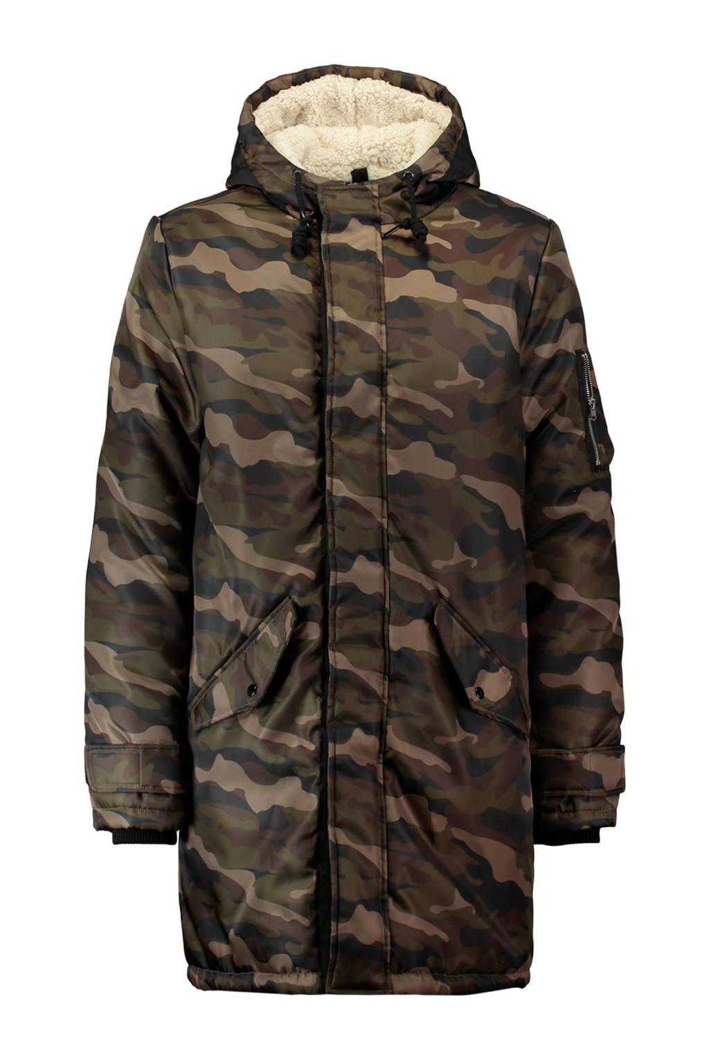 CoolCat winterjas met camouflageprint donkergroen, donkergroen/bruin