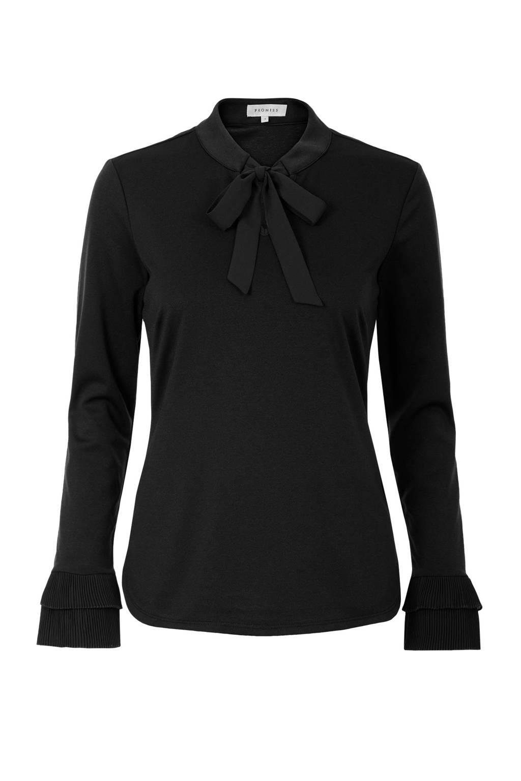 Promiss top met strikdetail zwart, Zwart