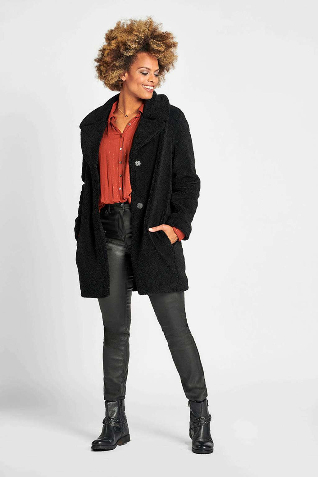 Miss Etam Regulier coated slim fit broek zwart 32 inch, Zwart
