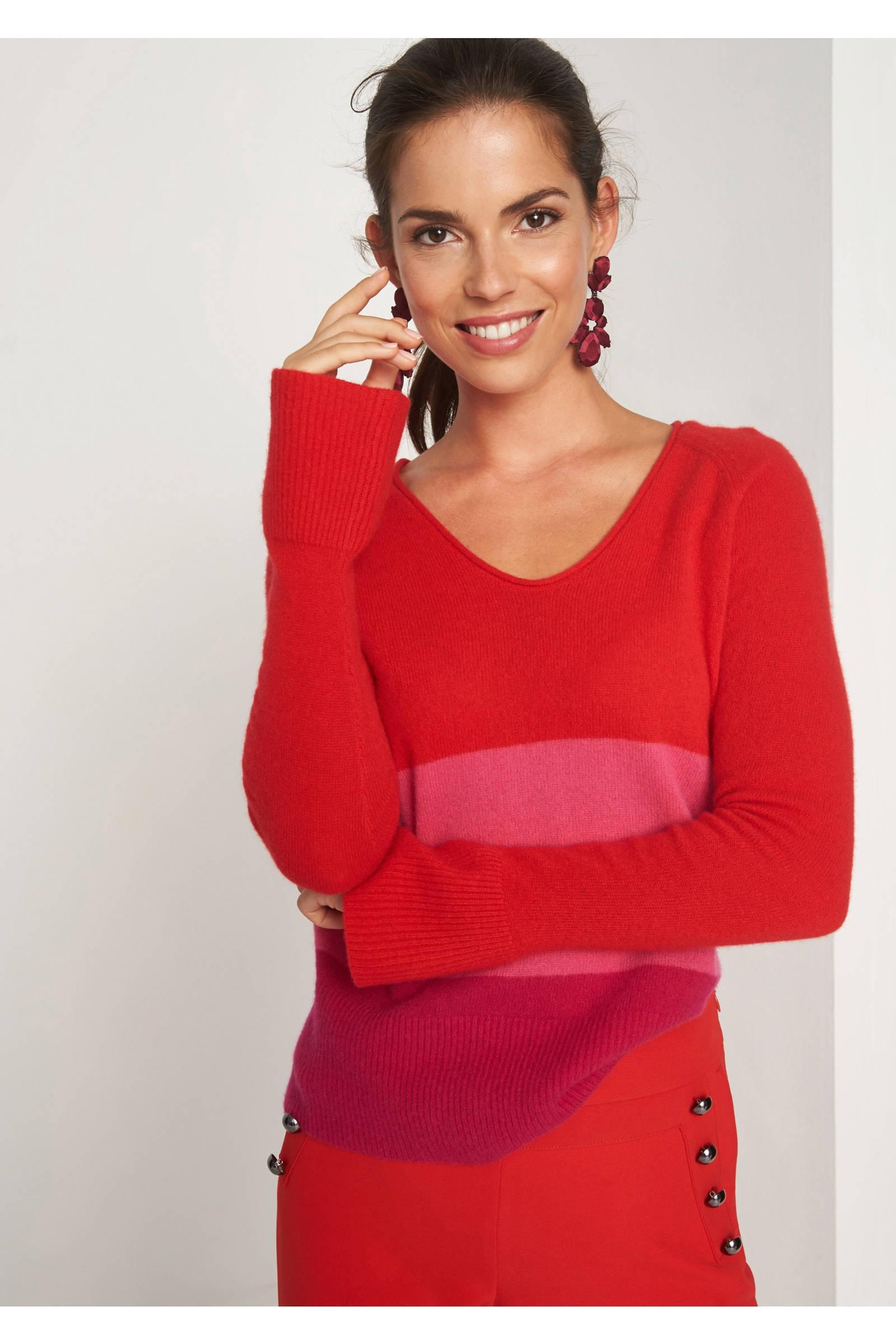 comma gestreepte trui met kasjmier roze | wehkamp