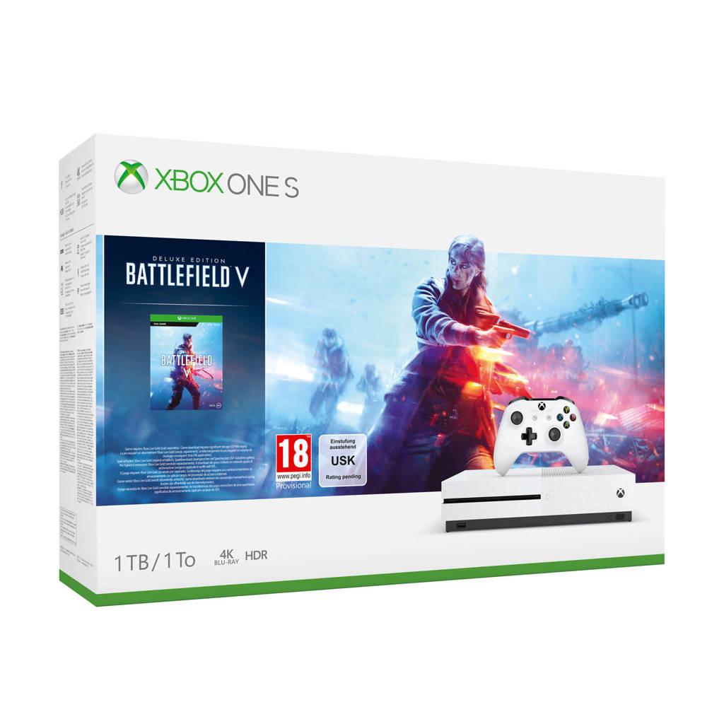 Microsoft Xbox One S 1TB console + Battlefield V bundel, Wit